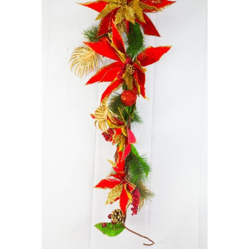 Majestic Poinsettia Garland 1.8m